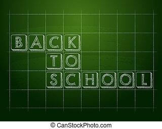 école, checkered, vert arrière, tableau