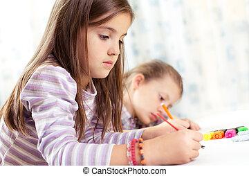 école, chevalet, peinture, enfant