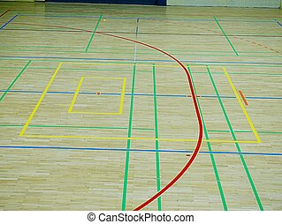 école, coloré, plancher, bois, gymnase, lignes, floor., gymnastique salle
