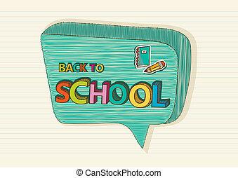 école, coloré, texte, dos, icons., social, education, bulle