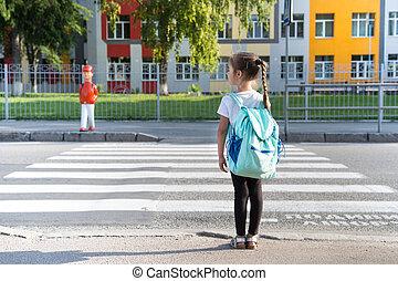 école, concept, étudiants, sacs dos, porter, dos, aller, élémentaire, girl, education, gosses, classe