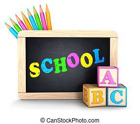 école, concept, 3d