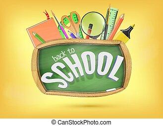école, concept, aide, coloré, dos, chalkboard., éléments, vert, sous, prêt, fournitures, education