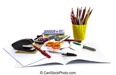 école, concept, bureau, isolé, dos, white., stationnaire