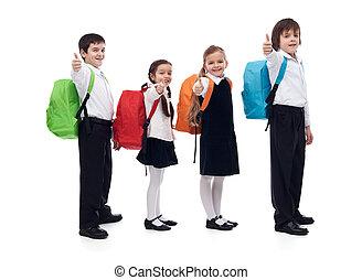 école, concept, donner, dos, haut, gosses, pouces, signe, heureux