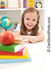 école, concept, -, dos, apprendre, prêt
