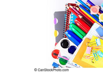 école, concept, dos, bureau, stationary.