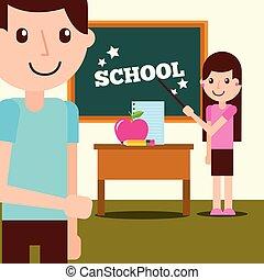 école, concept, fournitures