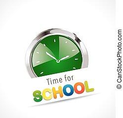 école, concept, -, minuteur, temps