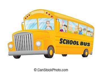 école, couleur, gosses, vecteur, travel., équitation, bannière, classique, gratuite, américain, bus., vieux