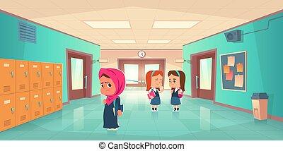 école, couloir, girl, musulman, triste, solitaire