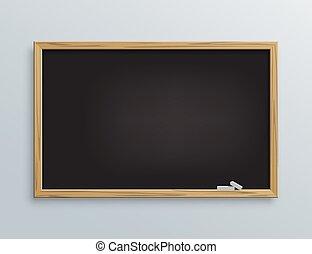 école, craie, pieces., vecteur, noir, tableau