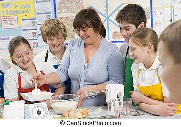 école, cuisine, prof, classe, écoliers