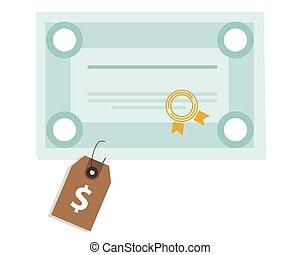 école, degré, certificat, paiement, étiquette prix, diplômé, cout, éducation université, université
