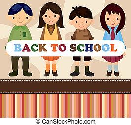 école, dessin animé, étudiant, card/back