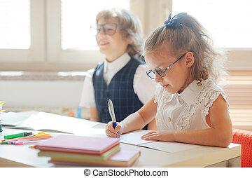 école, disciples, séance, même, desk., élémentaire