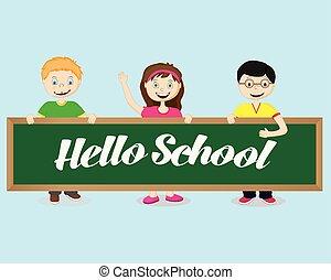 école, dit, joyeux, il, bonjour, planche, prise, enfants
