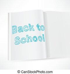 école, dos, cahier, fond, conception, blanc