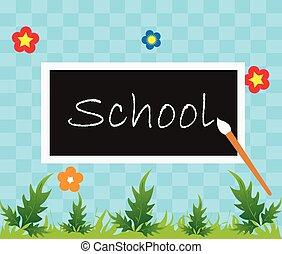 école, dos, fond