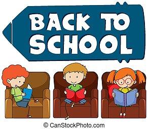 école, dos, gabarit, enfants
