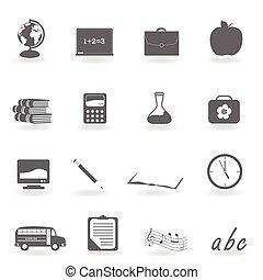 école, dos, icônes