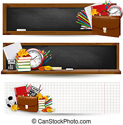 école, dos, leaves., automne, vector., fournitures, bannières, school.three