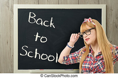 école, dos, noir, joli, prof, lunettes