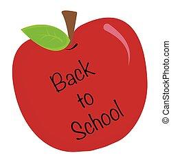 école, dos, pomme