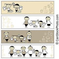 école, dos, ton, conception, parents, bannières, enfants