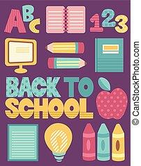 école, education, dos, éléments