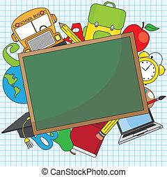 école, education, ensemble, icône
