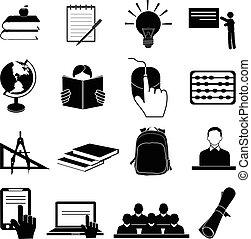école, education, ensemble, icônes