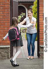 école, elle, après, attente, courant, mère, écolière