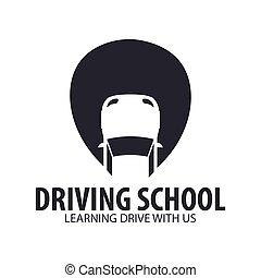 école, emblème, illustration., conduite, auto, education., vecteur, logo, template.