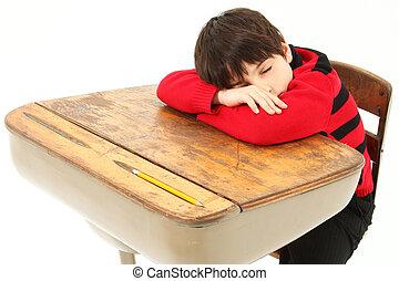 école, enfant endormi, étudiant, bureau