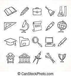 école, ensemble, blanc, icônes