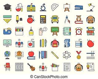 école, ensemble, contour, piscine, livres, aiguisoir, horloge, hibou, pile, reveil, conception, apparenté, autobus, natation, tel, agrafe, education, tableau, rempli, icône