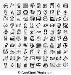 école, ensemble, griffonnage, dos, hand-draw, icône