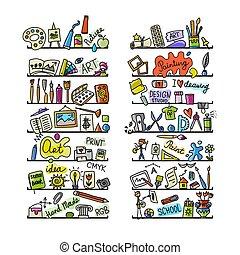 école, ensemble, icônes, dessin, conception, ton