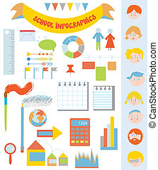 école, ensemble, icônes, infographic, conception, cadres, faces, éléments