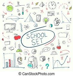 école, ensemble, illustration., grand, blackboard., vecteur