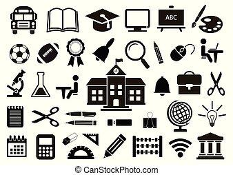 école, ensemble, illustration., icônes, arrière-plan., vecteur, blanc