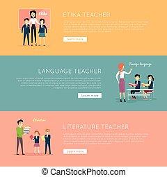 école, ensemble, illustration, vecteur, profs, bannières