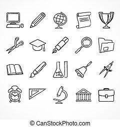 école, ensemble, linéaire, blanc, icônes