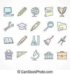 école, ensemble, linéaire, icônes, couleur, blanc