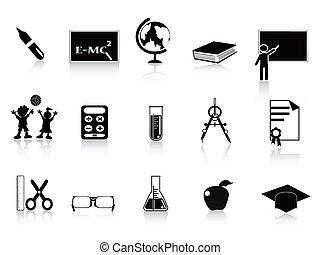 école, ensemble, noir, icône
