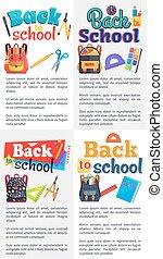 école, ensemble, texte, dos, endroit, affiches
