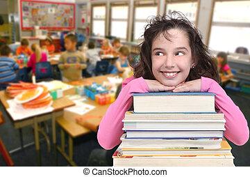 école, espace, texte, âge, haut, regarder, enfant, copie, ton