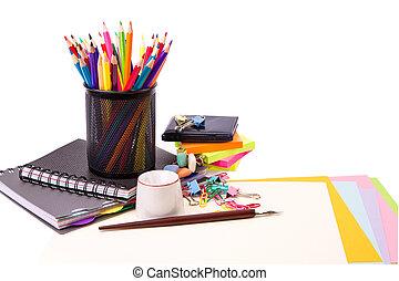 école, et, bureau, stationary., nouveau école, concept