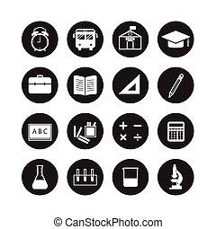 école, et, education, icônes